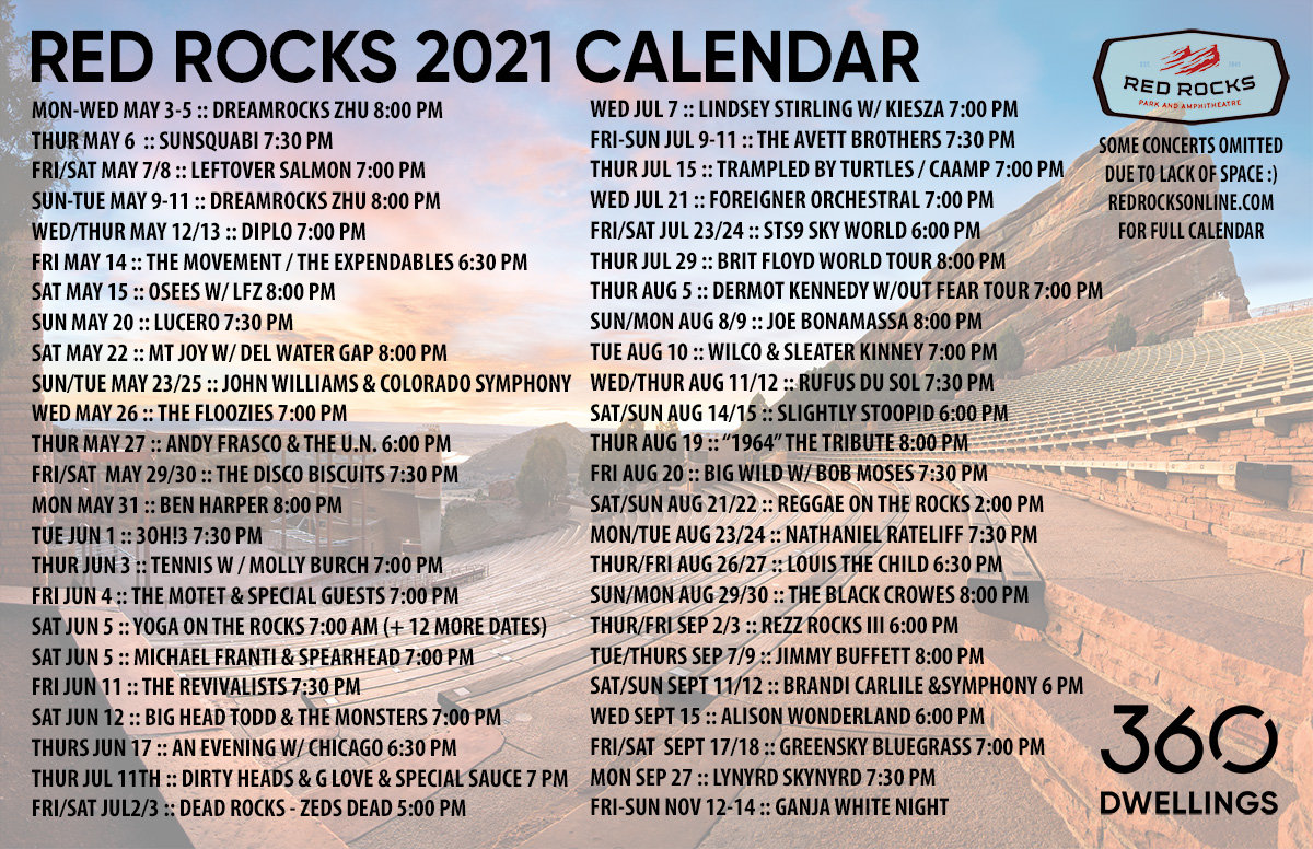 Red Rocks 2021 schedule and concert tips